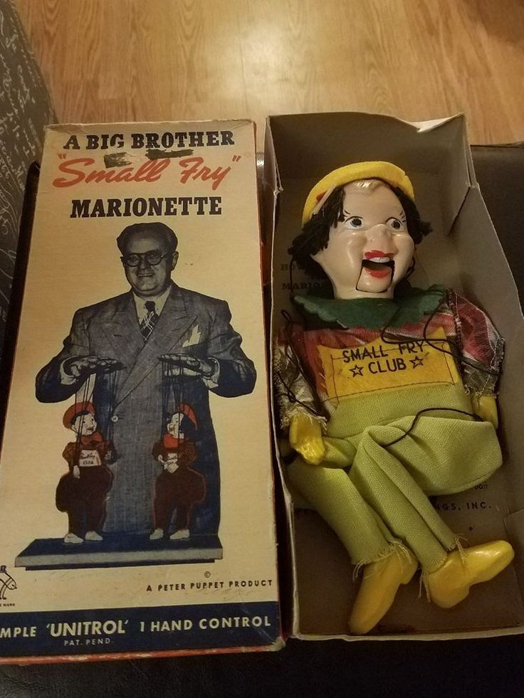 """EBAY TITLE: Big Brother Small Fry Marionette with box Peter Puppet Product. October 14, 2017 for $9.99 +$8.95.  This was a character on the first television program for children called """"Small Fry Club"""" (1947-1951)  Made by Peter Puppet Playthings (NY, 1947-1962)."""