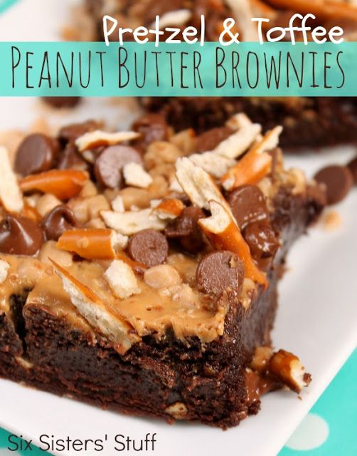 These Pretzel and Toffee Peanut Butter Brownies to die for! Check them out at SixSistersStuff.com #brownies