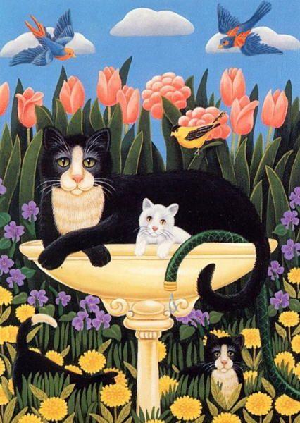 Art by Elizabeth King Brownd. #art #cute #cats
