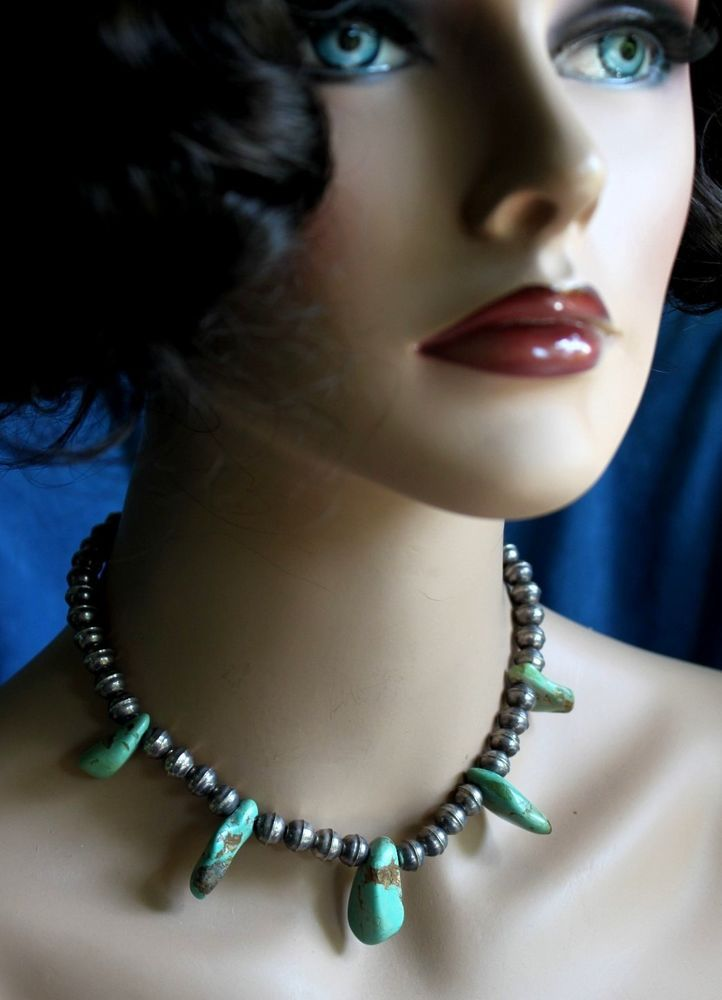 Vintage NAVAJO Lake Carico Green Turquoise Nugget Sterling Silver Bead NECKLACE