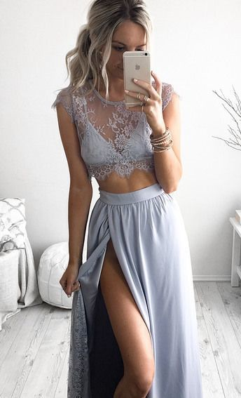 Two Pieces Charming Prom Dress,Lace Prom Dress,Sexy Prom Dress,Long Evening…
