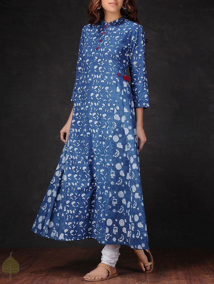 Buy Indigo White Natural dyed Dabu printed Mandarin Collar Cotton Kurta by Jaypore Women Kurtas Crush and dresses Online at Jaypore.com