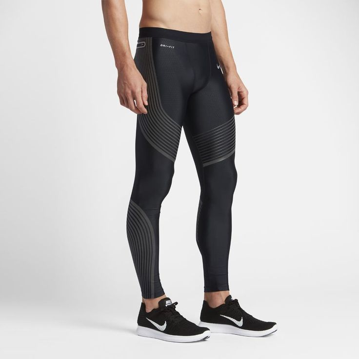 NIKE POWER SPEED TIGHTS COMPRESSION PANTS SIZE MEN MED NWT BLACK SILV  717750-010