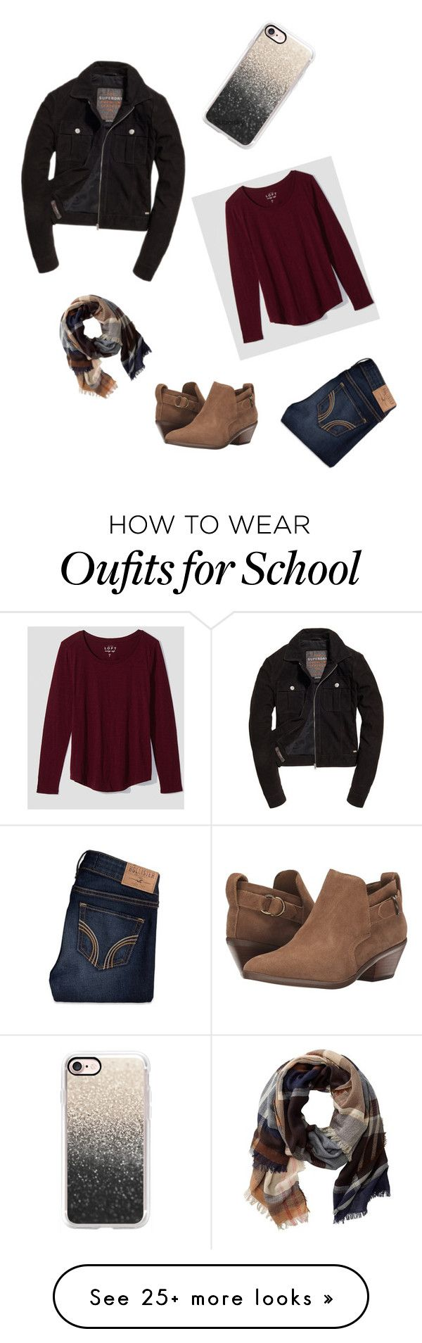 """School #52"" by annao133 on Polyvore featuring LOFT, Casetify, TravelSmith, Steven, Hollister Co. and Superdry"