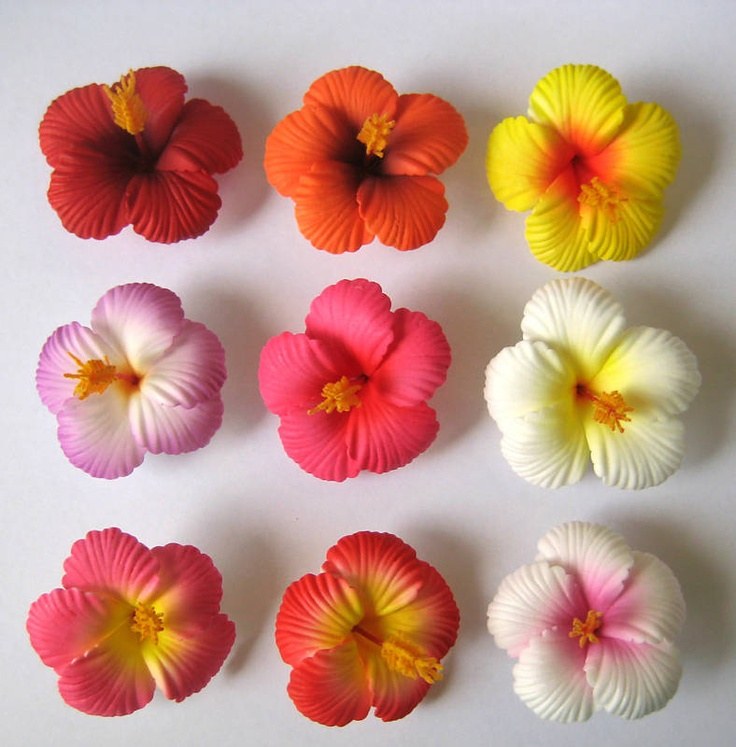 Set of 20 ~Hawaiian Hawaii Bridal Wedding Party Hibiscus Foam Flower Hair Clips | eBay