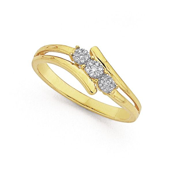 9ct Gold Diamond Trilogy Cluster Ring