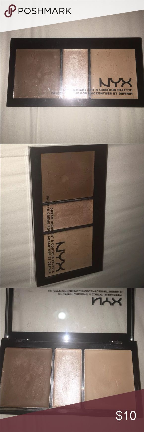 🎉🎊 NYX Cream Highlight & Contour Kit Very nice cream contour palette from NYX. Gently used. I'd recommend applying with a beauty blender. Gives a nice contoured face without being oily although it's creamy. Super pretty. Medium color. Will sanitize!!! NYX Cosmetics Makeup Luminizer