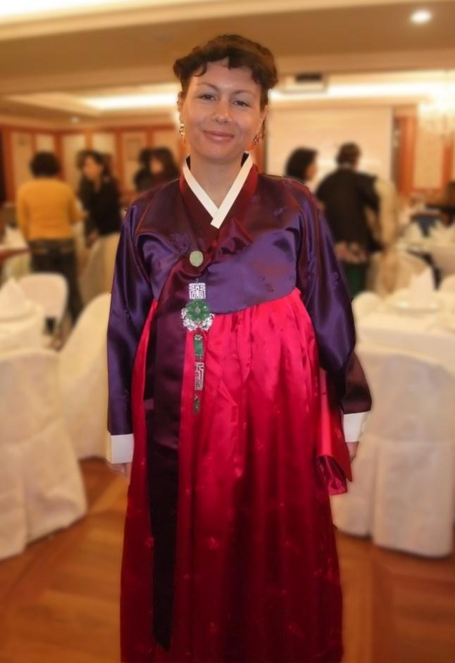 wearing a hanbok