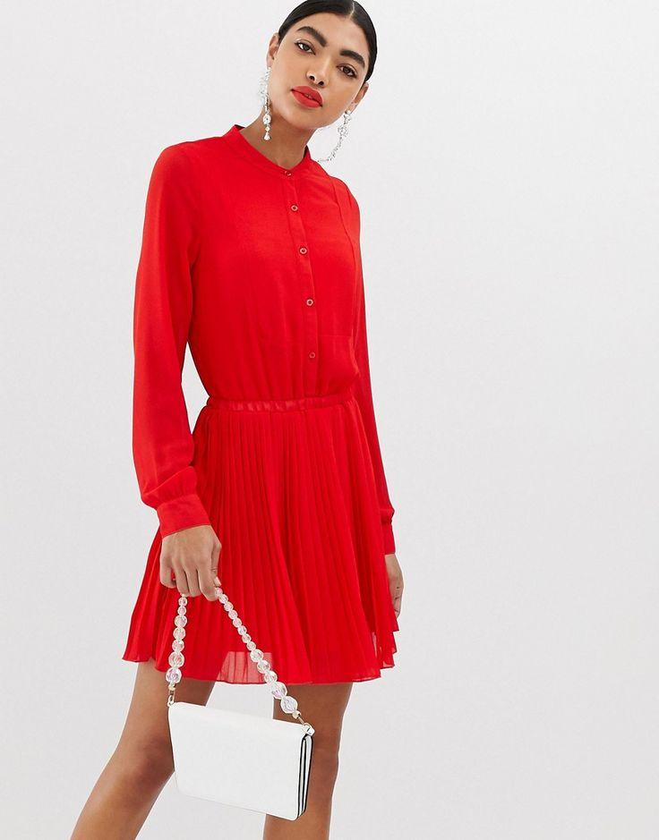 unqiue21 long sleeve collarless pleated dress kleider kleider