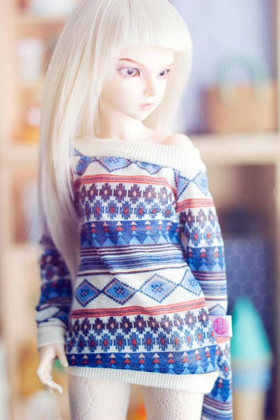 Blue Folk Sweater MSD bjd size Unoa MNF by sugardollshop on Etsy, $17.00