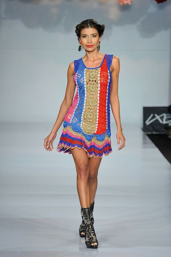 CROCHET FASHION TRENDS  exclusive colorful crochet by LecrochetArt, $390.00