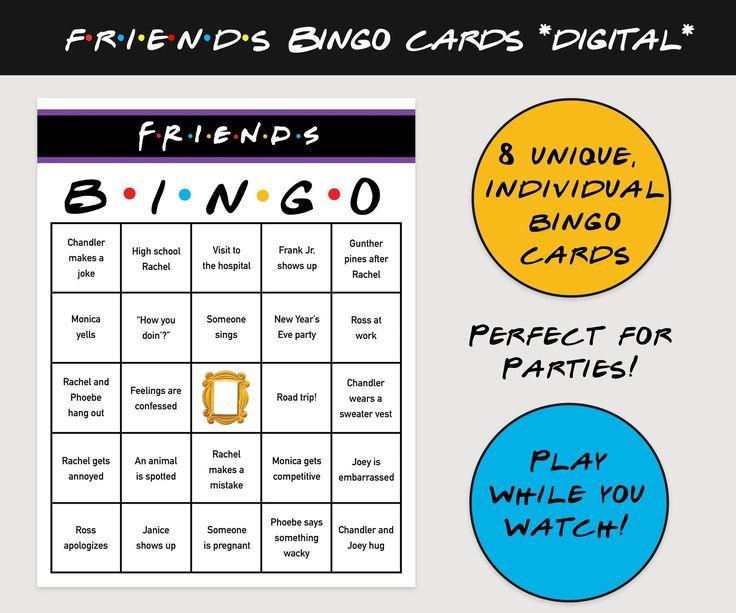Associates TV Present Bingo (set of 8) DIGITAL PRINTABLE Prompt Obtain, Print at Dwelling, Viewing Celebration, C