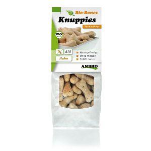 Knuppies Bio-Bone Pollo y Sachia, snacks naturales para perros alérgicos con semillas de Chia, con funciones de apoyo intestinal, cardiaco y energético.