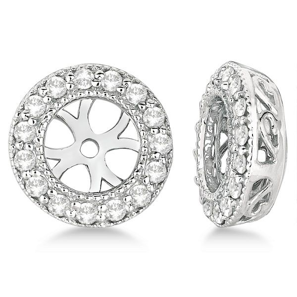 In each vintage style diamond earring jacket there are 30 brilliant-cut round diamonds of G-H Color, SI clarity elegantly circling the earring. The stones are beautifully showcased in a sparkling 14k White Gold pave set.<p>These halo filigree design earring jackets have milgrain edges to give it an antique inspired look.<p>The circle earrings for women measure 6mm in diameter on the inside, which can hold exactly 1.50CT total weight diamond studs. They can also hold an earring stud that…