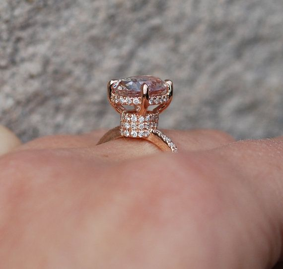 Rose gold Engagement ring by Eidelprecious. This engagement ring features beautiful and clean natural lavender champagne sapphire, 2.77ct eye