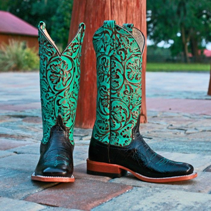 Anderson Bean Turquoise Damask Square Toe Boots 0684L