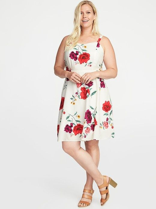 Floral-Print Fit   Flare Plus-Size Cami Dress  a753db18a