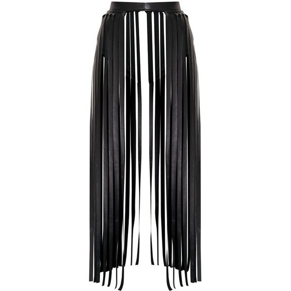 Dee Black Faux Leather Extreme Fringe Belt (79 RON) ❤ liked on Polyvore featuring accessories, belts, skirts, boho belt, faux leather fringe belt, fringe belt, vegan belts and faux leather belt