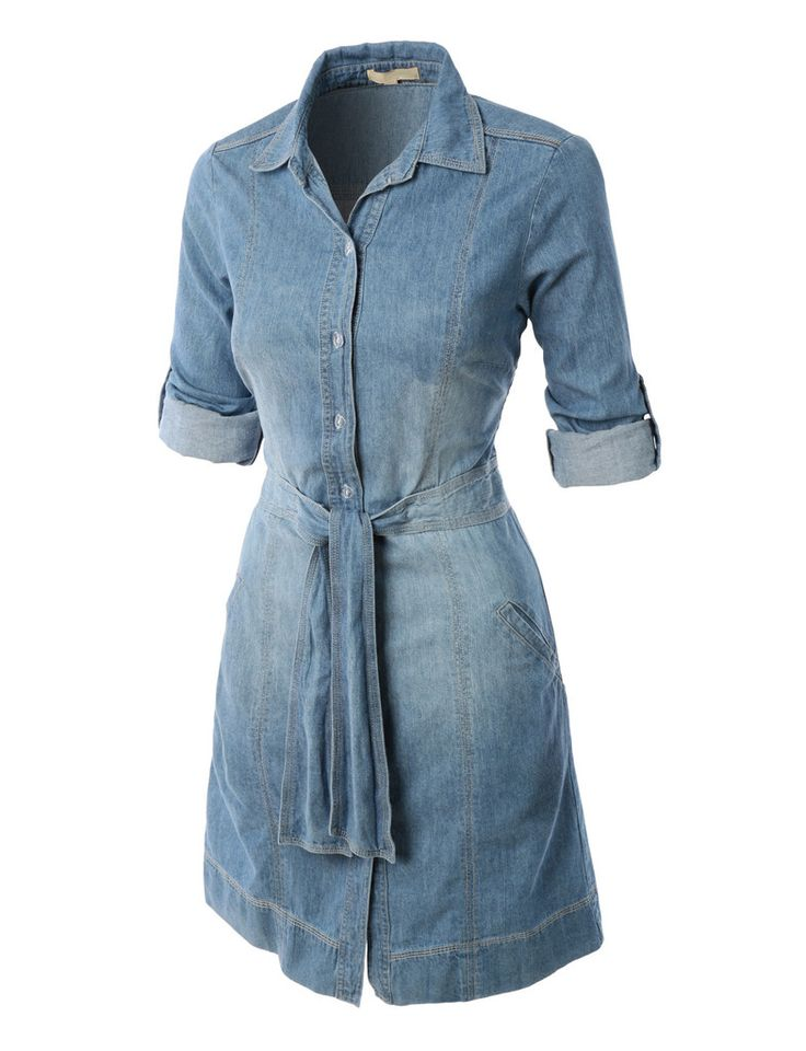 LE3NO Womens Casual Flared Button Down Chambray Denim Shirt Dress