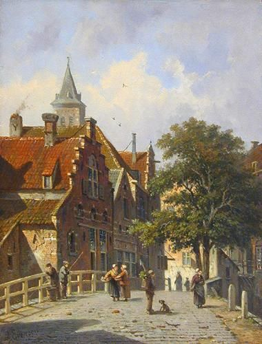 """Dutch Town Scene"" ... by Adrianus Eversen 1818-1897"