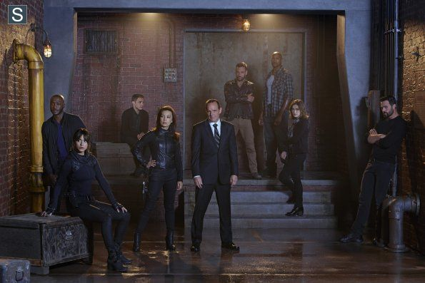 Agents of SHIELD - Season 2 - Promotional Cast Group Photo. HAHAHAH Ward is standing in the corner of SHAME!!!! Because that's what he deserves!!!!!