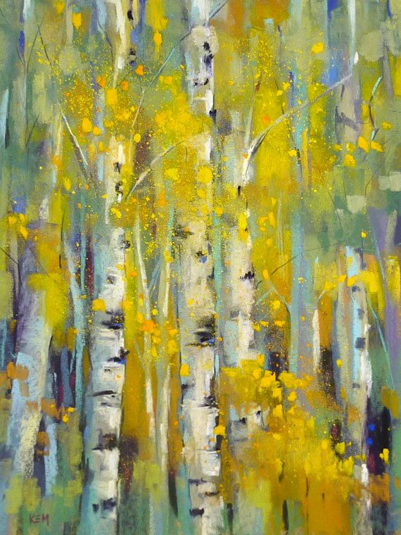 Aspens in Autumn11x14 Original Pastel by Karen Margulis #buyart #cuadrosmodernos #art
