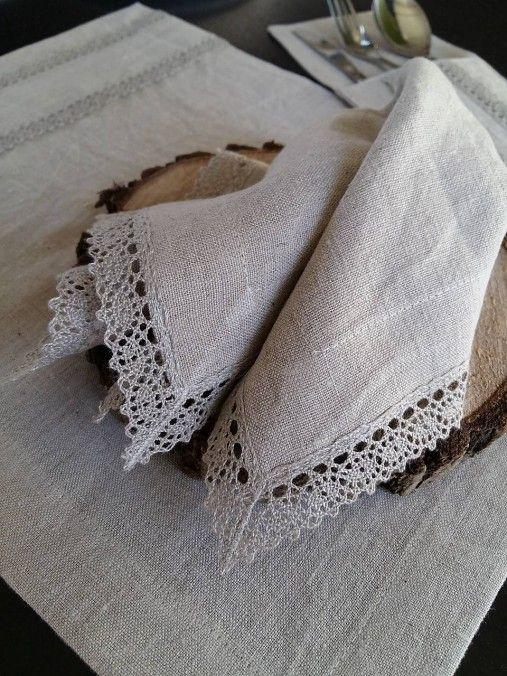 shabby.romantic / Ľanový obrúsok Raw Linen