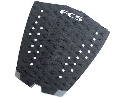 FCS Essential Series T-1  Designed to suit narrow tail boards.  Focusing on comfort, support and increased grip, FCS Traction keeps your foot connected to the board so you can push hard against your fins for maximum speed and drive.  FEATURES • 1 piece pad • Double diamond groove • Coffin arch bar • Hail tail kick • Sanded surfaces for enhanced grip • Ultra thin sensitivity • Perforated for extra resistance