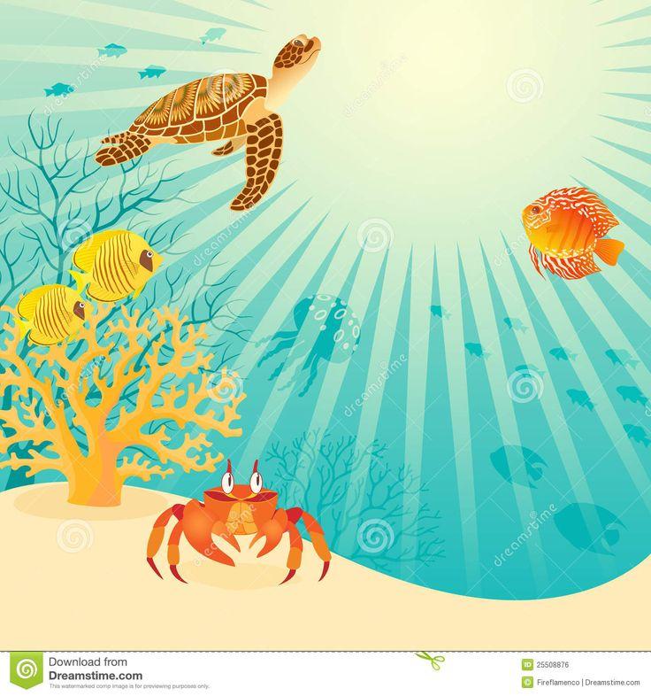 Vida subaquática ensolarada.  Ilustração: Fireflamenco.
