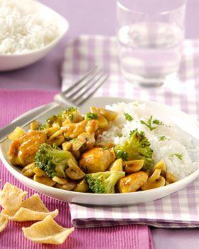 Snijd de kipfilet in stukken. Was en snijd de broccoli in kleine roosjes. Snijd de champignons in vieren. Kook de rijst volgens de aanwijzingen op de verpakking. Verhit de olie in een wok en roerbak hierin de kip 3 minuten. Wok de broccoli 5 minuten mee en voeg dan de champignons toe. Bak nog 2 minuten. Meng de Conimex Woksaus Teriyaki Honing met de kip en laat het goed warm worden. Verdeel de rijst over 4 borden en schep de Kip Teriyaki ernaast. Bestrooi met de peterselie en geef de…