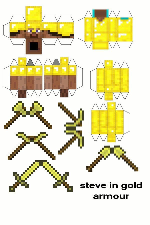 Papercraft Minecraft Diamond Steve Sword And