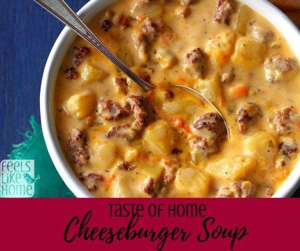 How to make the best cheeseburger soup recipe – This simple and easy award winning recipe comes from the Taste of Home magazine. It uses potatoes or frozen hashbrowns, Velveeta cheese, and of course hamburger. Made on the stovetop.
