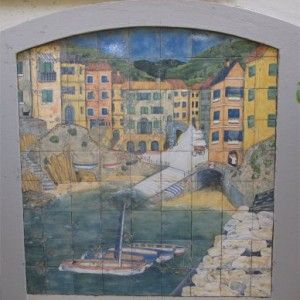 Seaside Scene ; Handprinted Tile Mural ; completed 2005