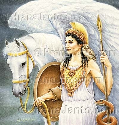 Minerva, Roman goddess of poetry, medicine, wisdom, commerce, weaving, crafts, magic. She is often depicted with her sacred creature, an owl
