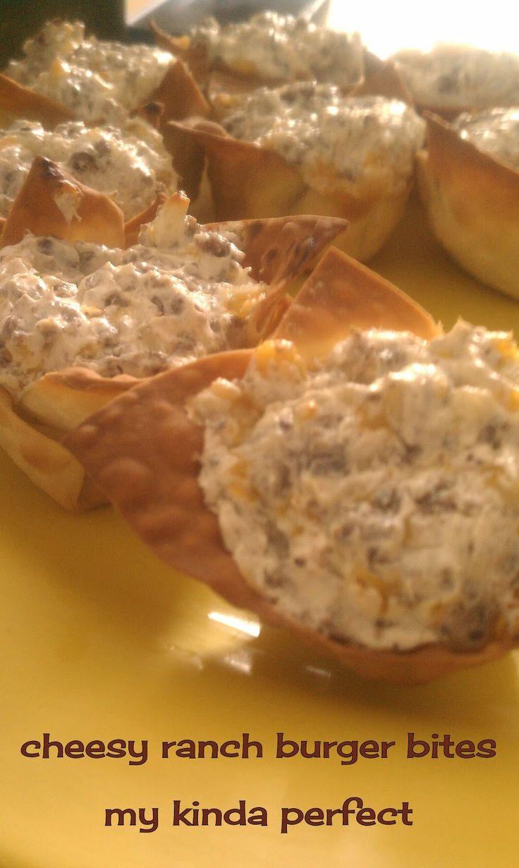 Cheesy ranch burger bites -1 pkg. wonton wrappers, 16 oz cream cheese ...
