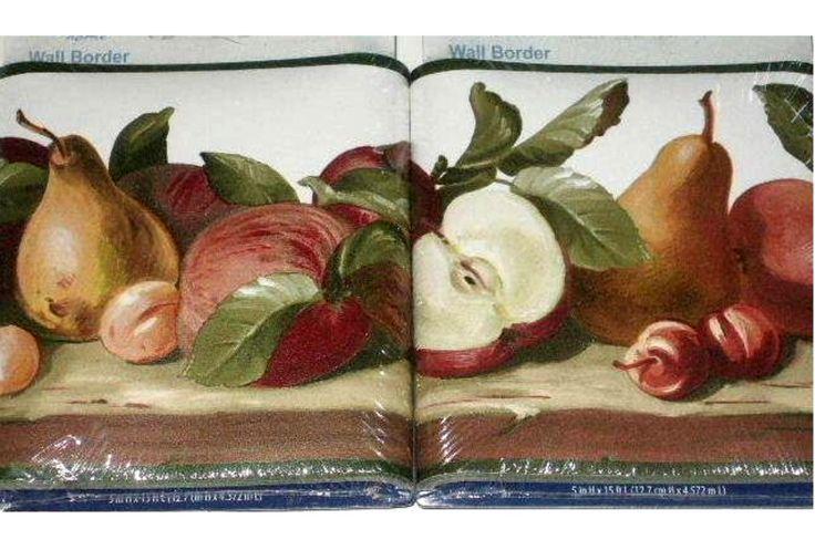 Fruit themed wallpaper border apples cherries pears for Apple themed kitchen ideas