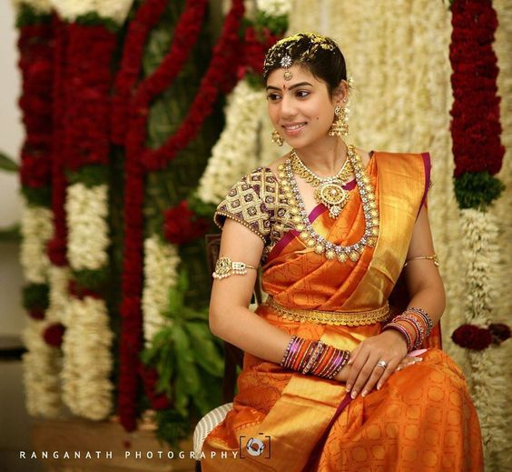 Stunning South Indian Bride Wearing #BridalSilkSaree and Jewellery