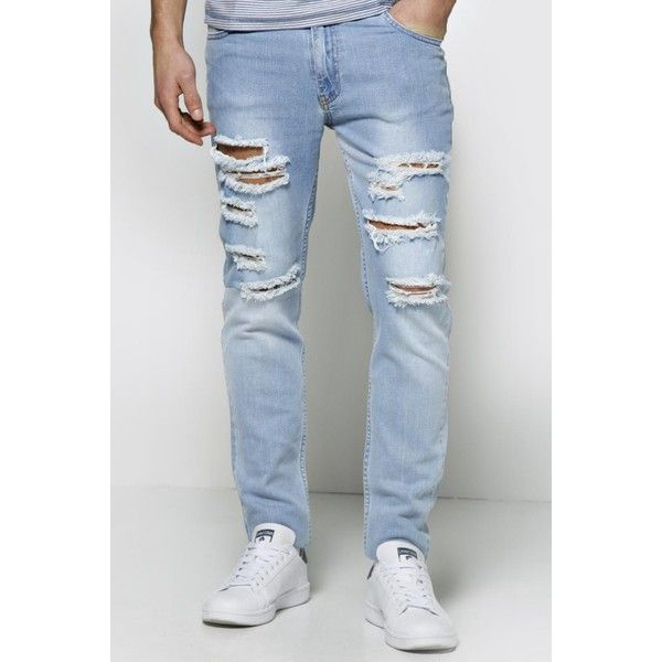 BoohooMAN Night Skinny Fit Bleached Wash Multi Ripped Jean ($35) ❤ liked on Polyvore featuring men's fashion, men's clothing, men's jeans, pale blue, mens ripped skinny jeans, mens acid wash jeans, mens slim straight jeans, mens slim fit jeans and mens super skinny jeans