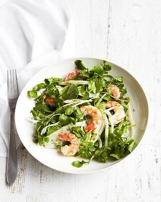 """Michelle sites this prawn, watercress and fennel salad as one of her favourite recipes of all time. """"It's super nutritious and dead easy to make."""" Click through for recipe."""