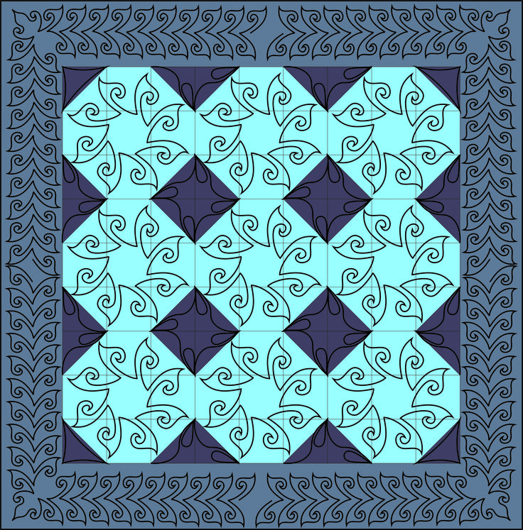 Easy block and border quilting stencil by Fairy Quilt