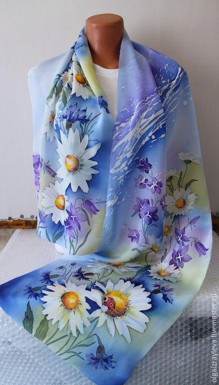 """Купить Батик шарф """"Ромашковое лето"""" - разноцветный, Батик, батик шарф, купить батик"""