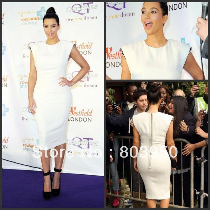 Ким кардашян знаменитости платье Cap рукавом белый оболочка среднего теленок длина Vestido де феста сшитое платье для коктейля