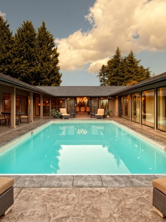 17 best ideas about house plans with pool on pinterest for U shaped house plans with courtyard pool