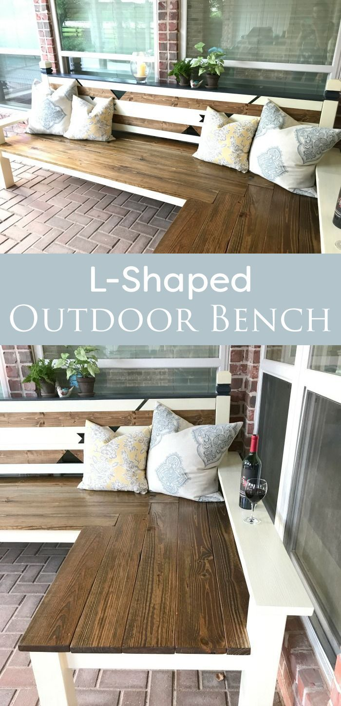 How to build this large L-shaped DIY Outdoor Bench for less than $130. This bench is mostly constructed with corral boards (1x6) and 4x4's.