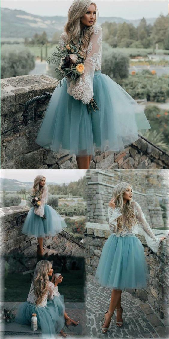 Cheap Tulle and Lace Two Pieces Blue Short #weddingweddingdressdress