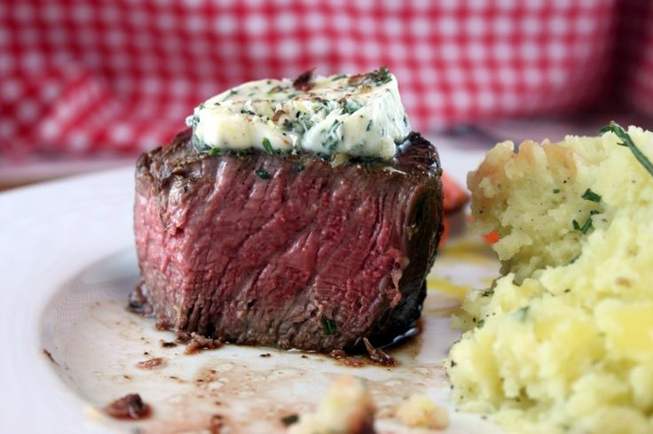 {restaurant style filet mignon with herb butter} sear the filets with 1/2 a stick of butter in a screaming hot skillet + finish off in the oven for 6-8 minutes for medium rare. voila!