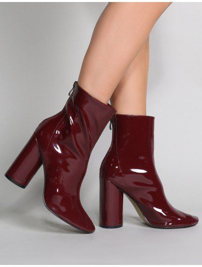 Impact Round Block Heel Ankle Boots in Burgundy Patent