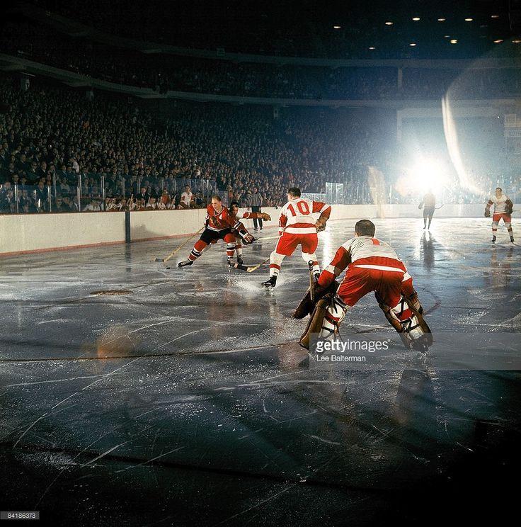 Chicago Blackhawks Bobby Hull (9) in action vs Detroit Red Wings Alex Delvecchio (10). Chicago, IL 4/7/1966