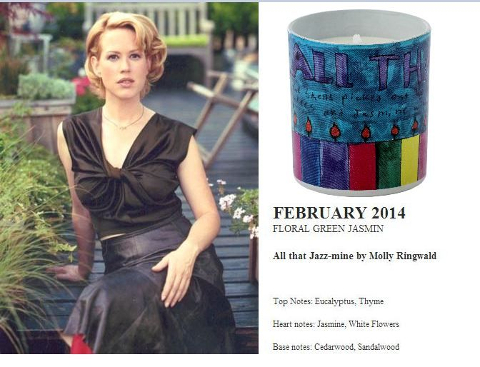 Molly Ringwald for Quintessence Paris  2014 Calendar Collection All that Jazz 140g candle (Floral Green Jasmin)  http://french-studio-imports.myshopify.com/ #FSI