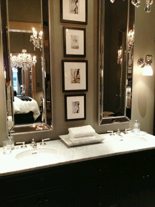 Elongated mirrors, double sink-- bathroom love